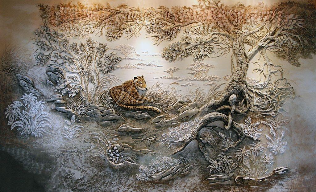 Природа, пейзаж барельеф на стенах Пермь Пермский край